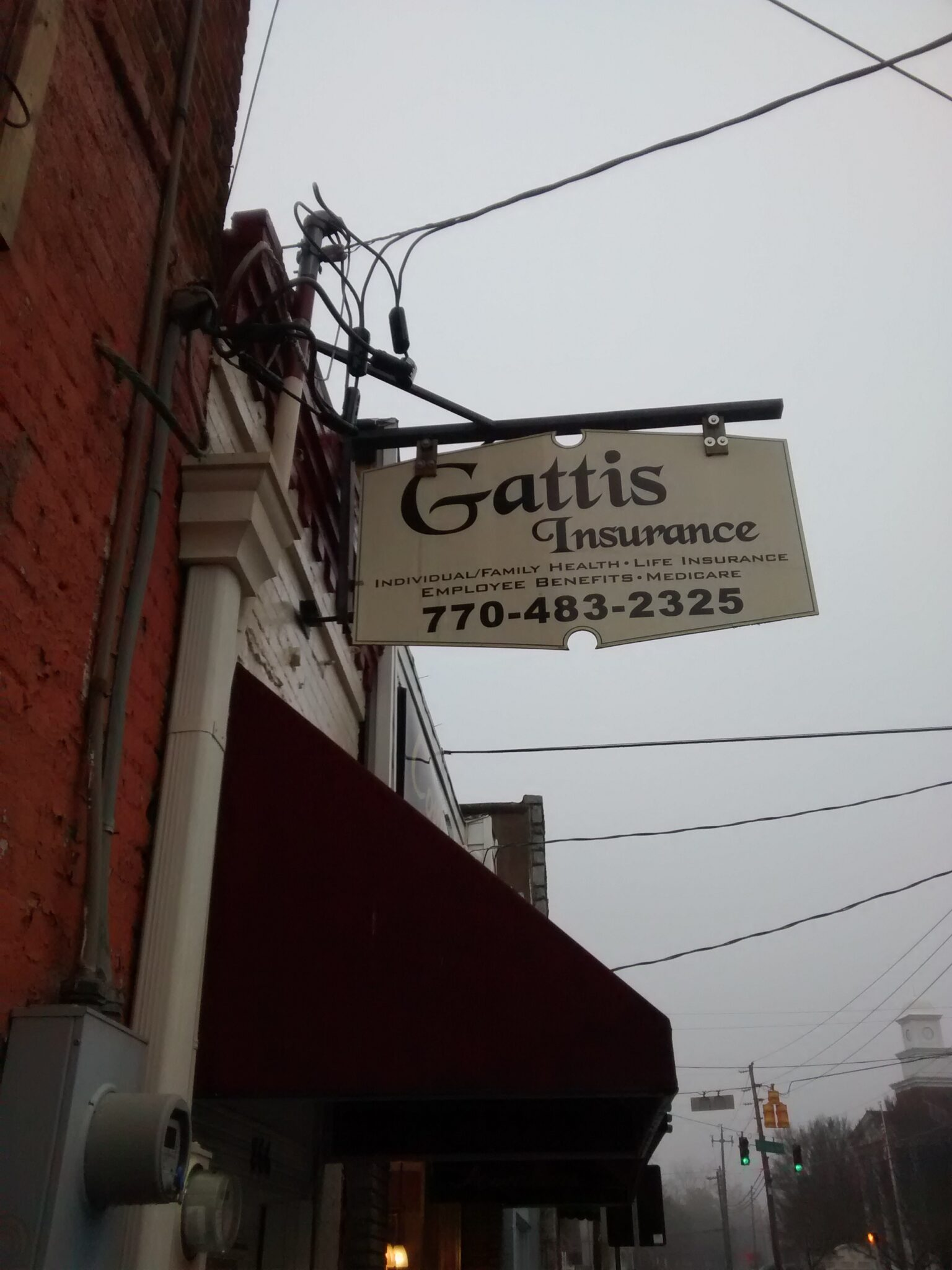 Outside my office, there is a sign for Gattis insurance. The Braves don't have much of this.